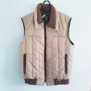 Vintage 80s tan and brown quilted puffer vest M